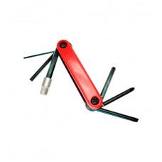 Canivete Ferramentas Bicicleta 07 Funcoes KL-9804 Vermelho