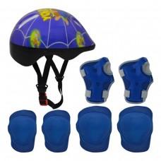 Kit Capacete Cotoveleira Joelheira Infantil Bike Skate Azul