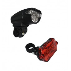 Farol Bike Kit 08 Led C/ Lanterna Vista Light 05 Led Preto