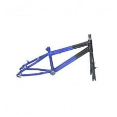 Quadro C/ Garfo 20 Infantil MTB Rebaixado Preto C/ Azul