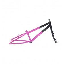 Quadro C/ Garfo 20 Infantil MTB Rebaixado Preto C/ Pink