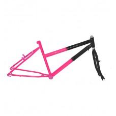 Quadro C/ Garfo 26 MTB 45mm Feminino Preto C/ Pink