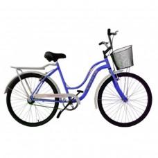 Bicicleta Aro 26 Vintage Retrô Lady Azul Verniz C/ Branco