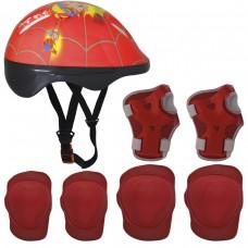 Kit Proteção Infantil Capacete+Joelheira+Cotoveleira -Verm