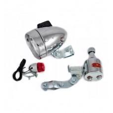 Farol Lanterna Bike Retro Redondo (dinamo+lant) 12vx6w Cromado